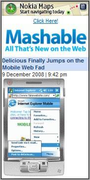 Mashable Mobile's Delicious article