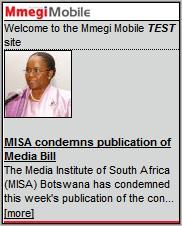 Mmegi Mobile Homepage
