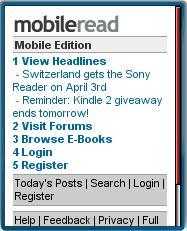 MobileRead's mobile homepage