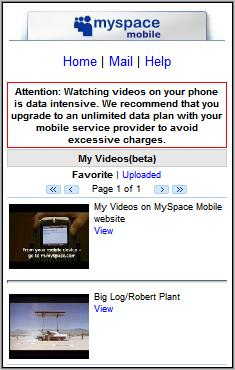 My Space Mobile Video