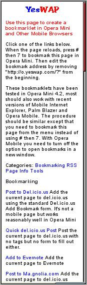 Opera Mini Bookmarklets