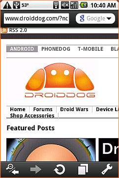 Opera Mini 5 Android - Droid Dog with Navigation
