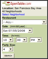OpenTable Search Form