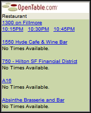 OpenTable Results List