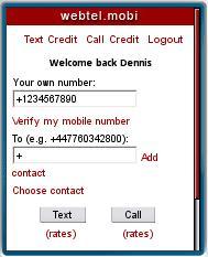 Webtel.mobi - Place a call
