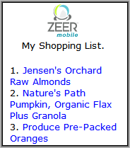 Zeer Shopping List