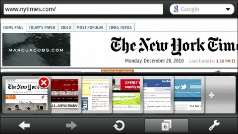 Opera Mobile10.1 (1169) on N8 With 6 Open Tabs