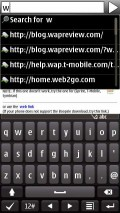Split screen portrait keyboard and URL auto-completion - Synbian Browser