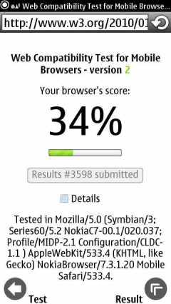 T-Mobile Astound Browser - W3C HTML5 test