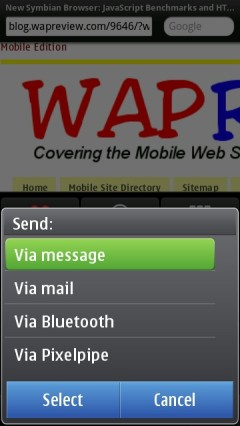 Opera Mobile 11 Symbian Send Menu