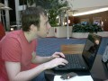WOMWorld's Tom Messett Working in the Hotel Lobby Before Breakfast