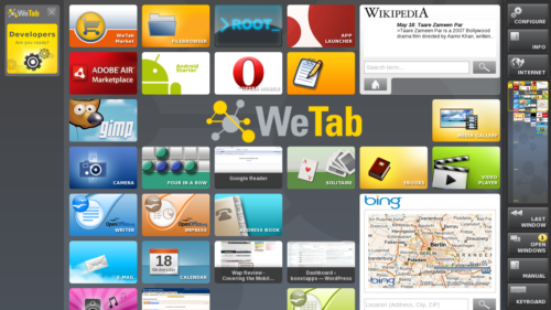 WeTab Home Screen with Widgets