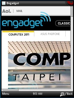 Engadget Desktop in Opera Mini