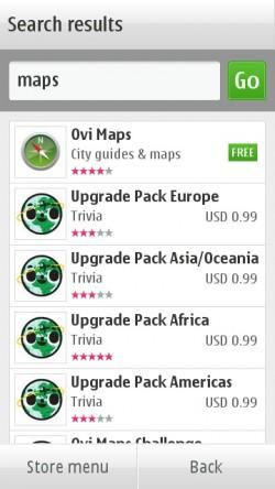 Ovi Maps in Ovi Store