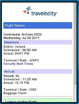 Travelocity Mobile Flight Status Fail