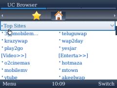 UC Browser for BlackBerry Start Page Navigation 2
