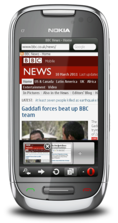 Opera Mini 6.1 - Tabbed Browsing on the Nokia C7