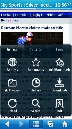UC Browser 7.9 Symbian Menu