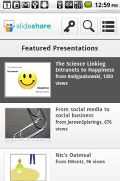 SlideShare Android - Main Menu