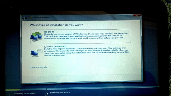 Windows 8 Installer - Choose the Custom option