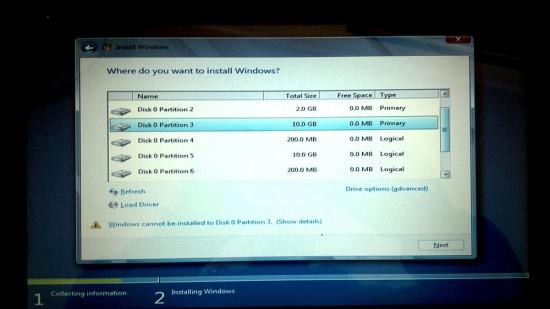 Windows 8 Installer Choose Install Partition