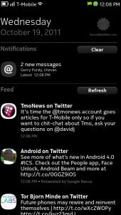 Nokia N9 Events Homescreen With Inactive Weather Notification