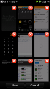 Nokia N9 Running Applications (Task Switcher) Screen  - Close Apps Mode