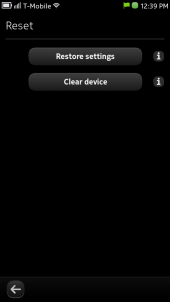 Nokia N9 Reset Screen