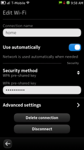 Nokia N9 Connection Settings