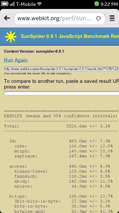 Nokia N9 Browser - Sunspider Benchmark Result