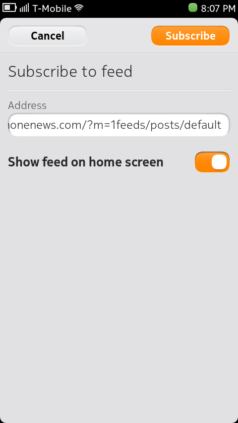 Nokia N9 - Subscribe to Feed