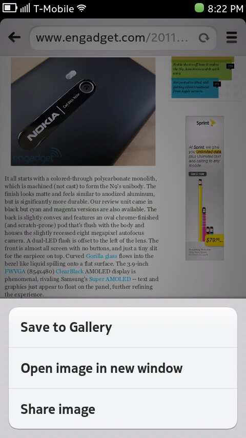 Nokia N9 Browser - Image Context Menu