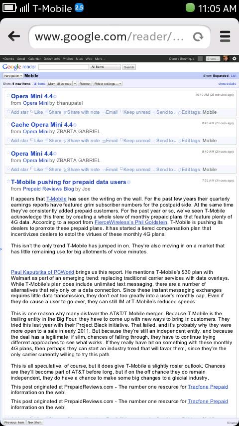 Nokia N9 Browser - Google Reader (desktop version)