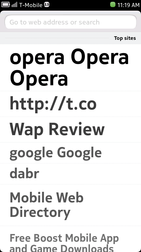 "Nokia N9 Browser - ""Top Sites"" Start Page"
