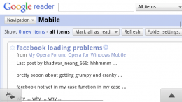 Google Reader Desktop version in Opera Mobile 11 on the Nokia N9