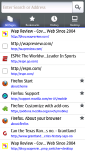 Nokia N9 Firefox Mobile - All Pages Menu