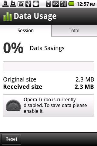 Opera Mobile 11.5 Data Monitor