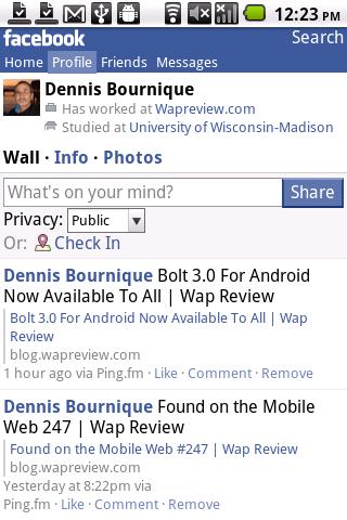 Opera Mobile 11.5 Facebook