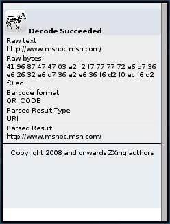 ZXing Decoded Bar Code