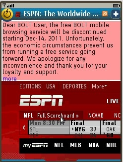 """""""Discontinued"""" message overlay in Bolt Browser"""