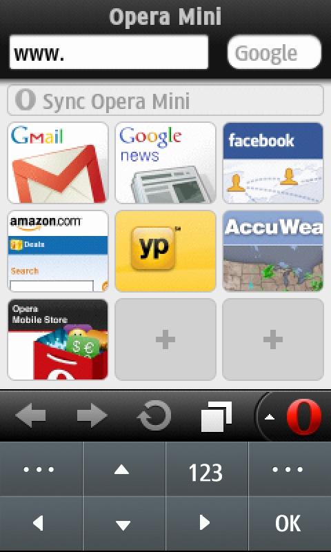 Opera Mini With Virtual Keypad