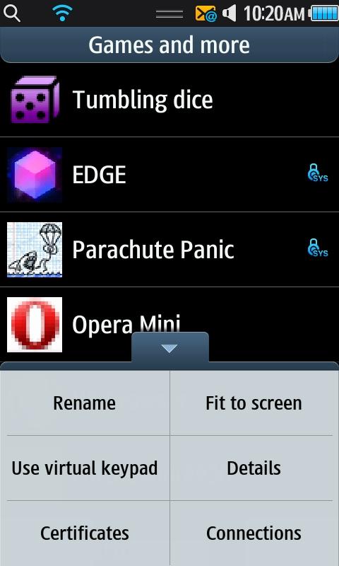 Samsung Wave - Options Menu