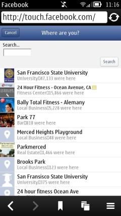 Nokia Belle Browser - Facebook Check In