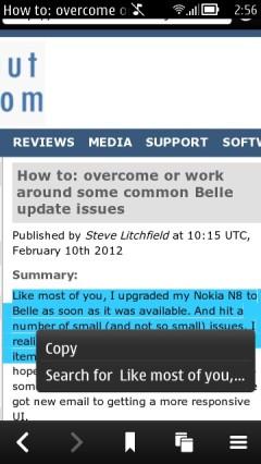 Nokia Belle Browser - Copy Text