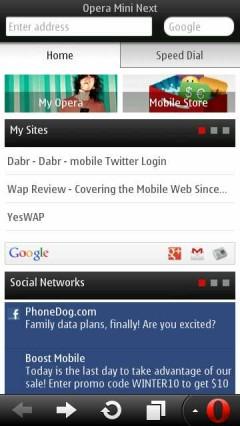 Opera Mini Next Symbian Smart Page