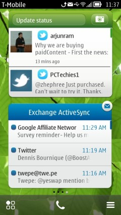 Nokia Belle - Larger Scrollable Social and Email Widgets
