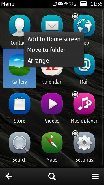 Nokia Belle Application Menu - Add to Home screen