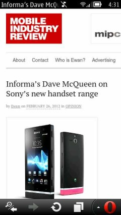Opera Mobile 12 (Symbian) Mobile Industry Review