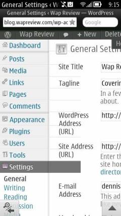 Opera Mini Next Symbian Update 1  - WordPress Dashboard