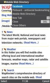 UC Browser 8.2 Java Tab Menu